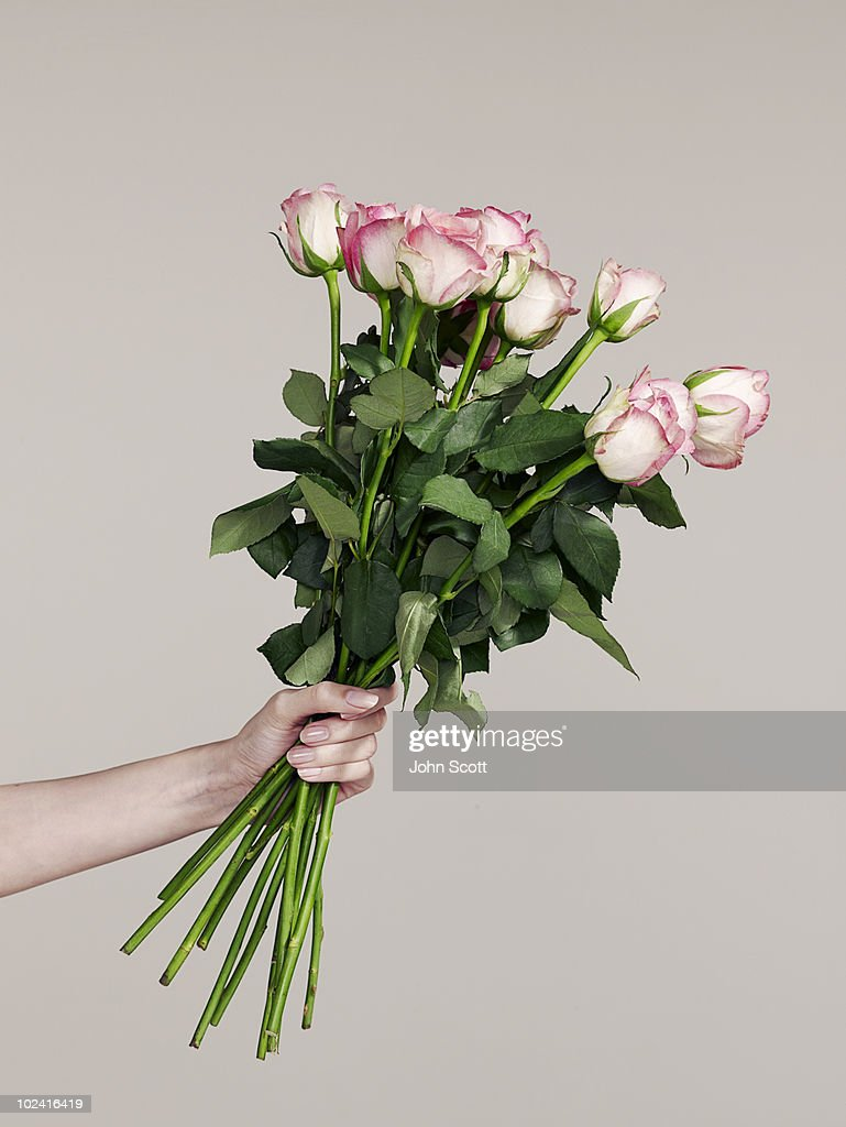 Woman holding a bunch of roses : Stock Photo