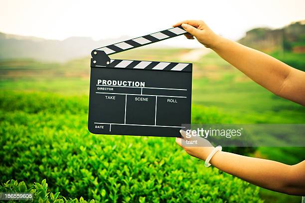 woman holding a clapper board in front of a field - clapboard stock pictures, royalty-free photos & images