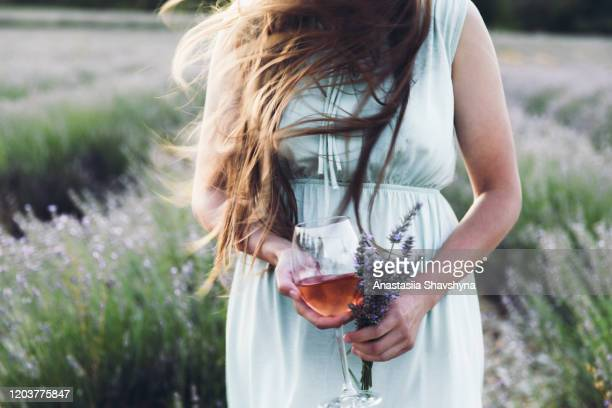 mulher segurando uma taça de vinho e buquê de flores durante o pôr do sol no campo de lavanda na frança - provence alpes côte d'azur - fotografias e filmes do acervo