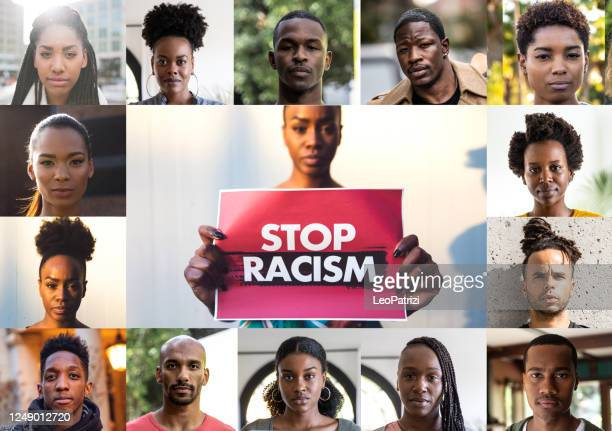 woman holding a red sign against racism and a mix of afro american men and women faces - preconceito racial imagens e fotografias de stock