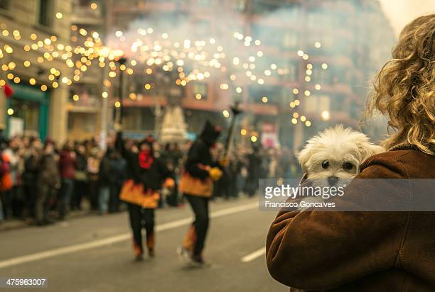 CONTENT] A woman holding a scared puppy while correfocs pass by during the celebration of the Chinese New Year in Barcelona Spain February 1st 2014
