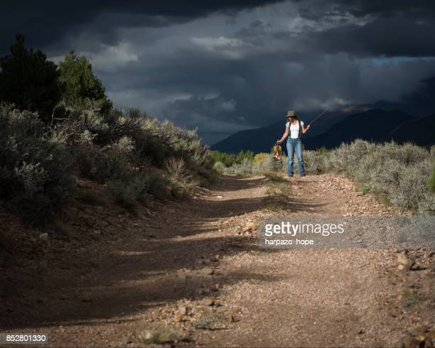 woman holding a violin with stormy sky. - sagebrush stock pictures, royalty-free photos & images