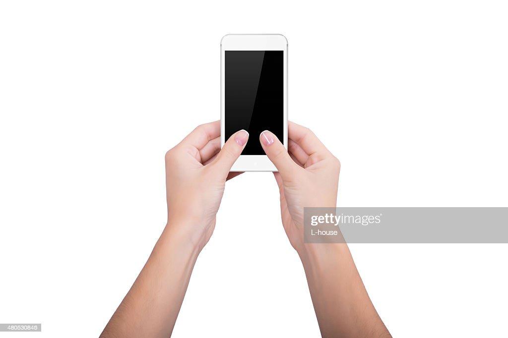 Frau hält eine weiße Handy : Stock-Foto