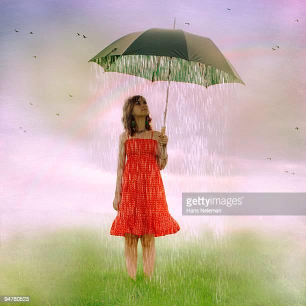 Woman holding an umbrella in rain, Republic of Ireland