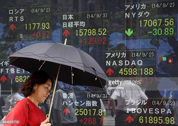 A woman holding an umbrella walks past an electronic stock board displaying the midday figure of the Nikkei 225 Stock Average top center outside a...