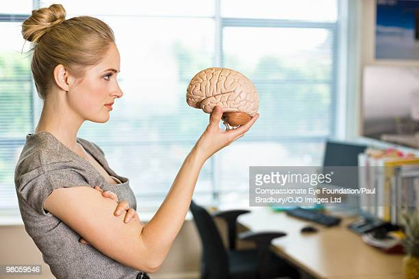 "woman holding and looking at a plastic brain - ""compassionate eye"" stock pictures, royalty-free photos & images"