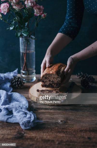Woman holding Banana chocolate chip bread