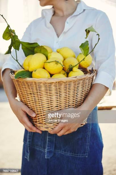 woman holding basket full of lemons - full frontal woman fotografías e imágenes de stock
