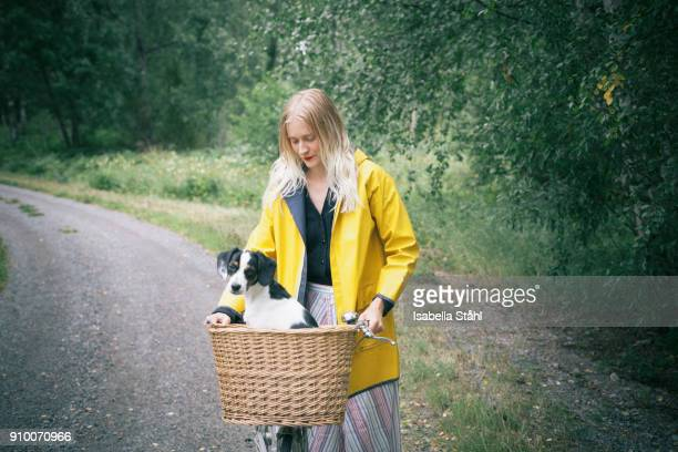 woman holding bicycle with dog in basket on dirt road at forest - fahrradkorb stock-fotos und bilder
