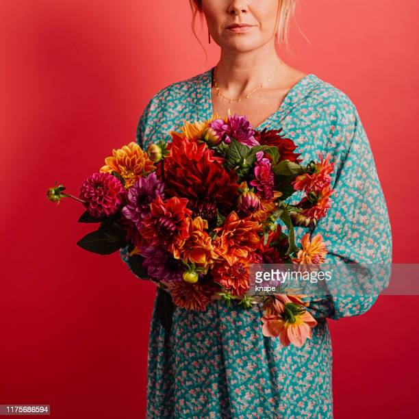 woman holding big bouquet of colorful flowers dahlias - multi coloured dress stock pictures, royalty-free photos & images