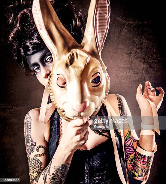 Woman Holding Bunny Mask
