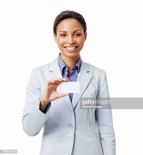 Woman Holding Business Card - Isolated