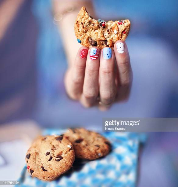 Woman  holding cookie