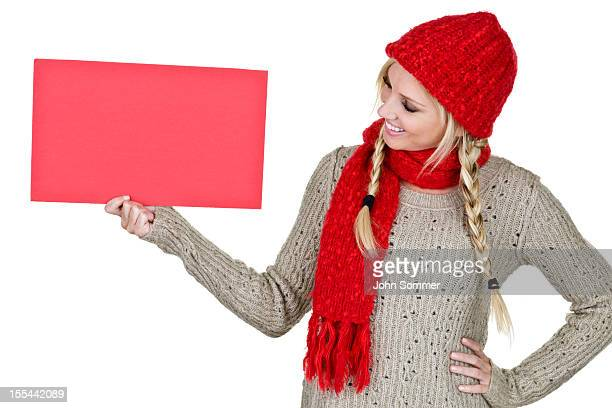 woman holding copy space board - knit hat stock pictures, royalty-free photos & images