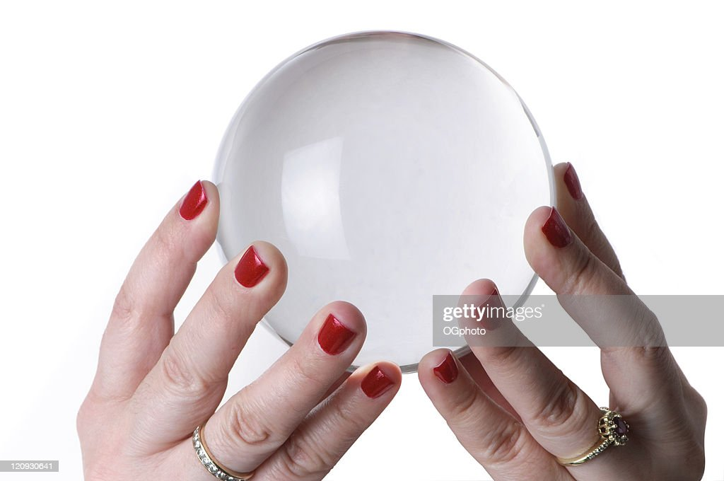 Woman holding crystal ball : Stock Photo