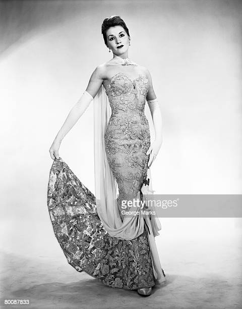 woman holding dress, portrait - evening glove stock pictures, royalty-free photos & images
