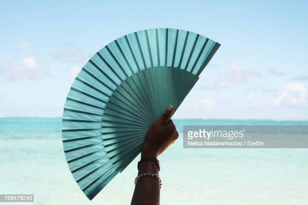 woman holding fan by sea against sky - hand fan stock pictures, royalty-free photos & images