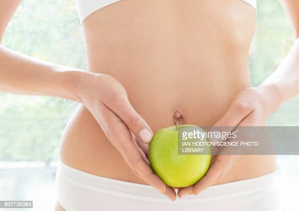 woman holding green apple - torso stock pictures, royalty-free photos & images