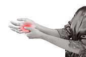 Woman holding her hand, Pain concept, De Quervain's tenosynovitis, isolate on white background