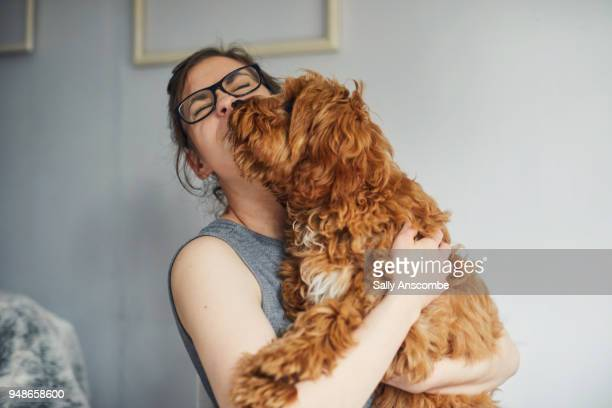 woman holding her pet dog - hund stock-fotos und bilder