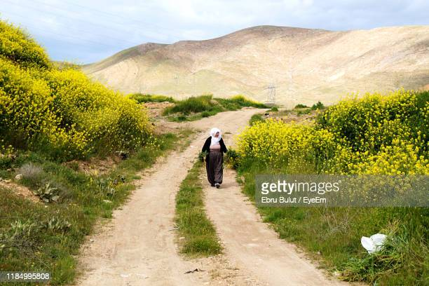 woman holding plants while walking on dirt road - elazig stock pictures, royalty-free photos & images