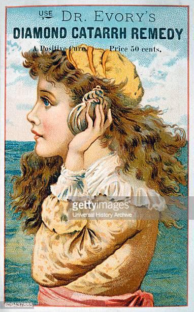 Woman Holding Seashell to Ear Dr Evory's Diamond Catarrh Remedy Trade Card circa 1900