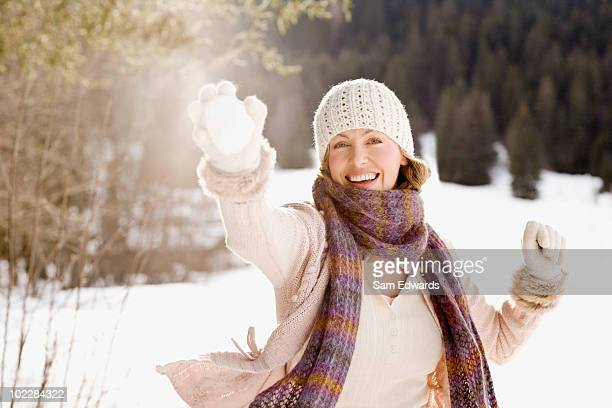 Woman holding snowball