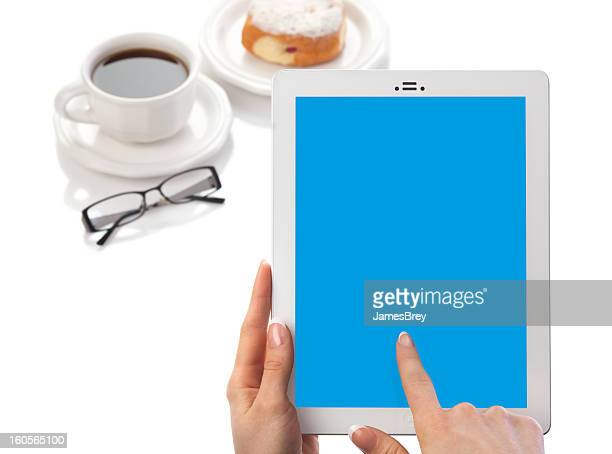 Woman Holding Tablet Computer Blank Blue Screen