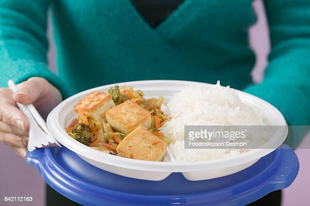woman holding tofu, vegetables and rice on plastic plate - plastic plate stock photos and pictures