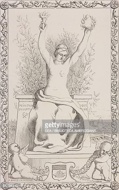 Woman holding up a torch and laurel wreath Allegory of Painting Sculpture Music and Literature engraving from ParisGuide by leading writers and...