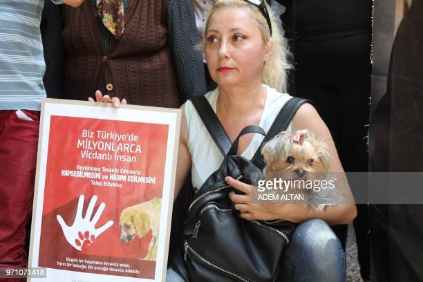 A woman holds a banner calling penalty for zoophilia as she carries her dog in a bag during a demonstration in Ankara on June 10 after a video...