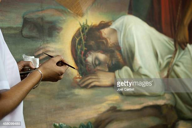 faith and the arts - leon cathedral, nicaragua - stations of the cross stock pictures, royalty-free photos & images