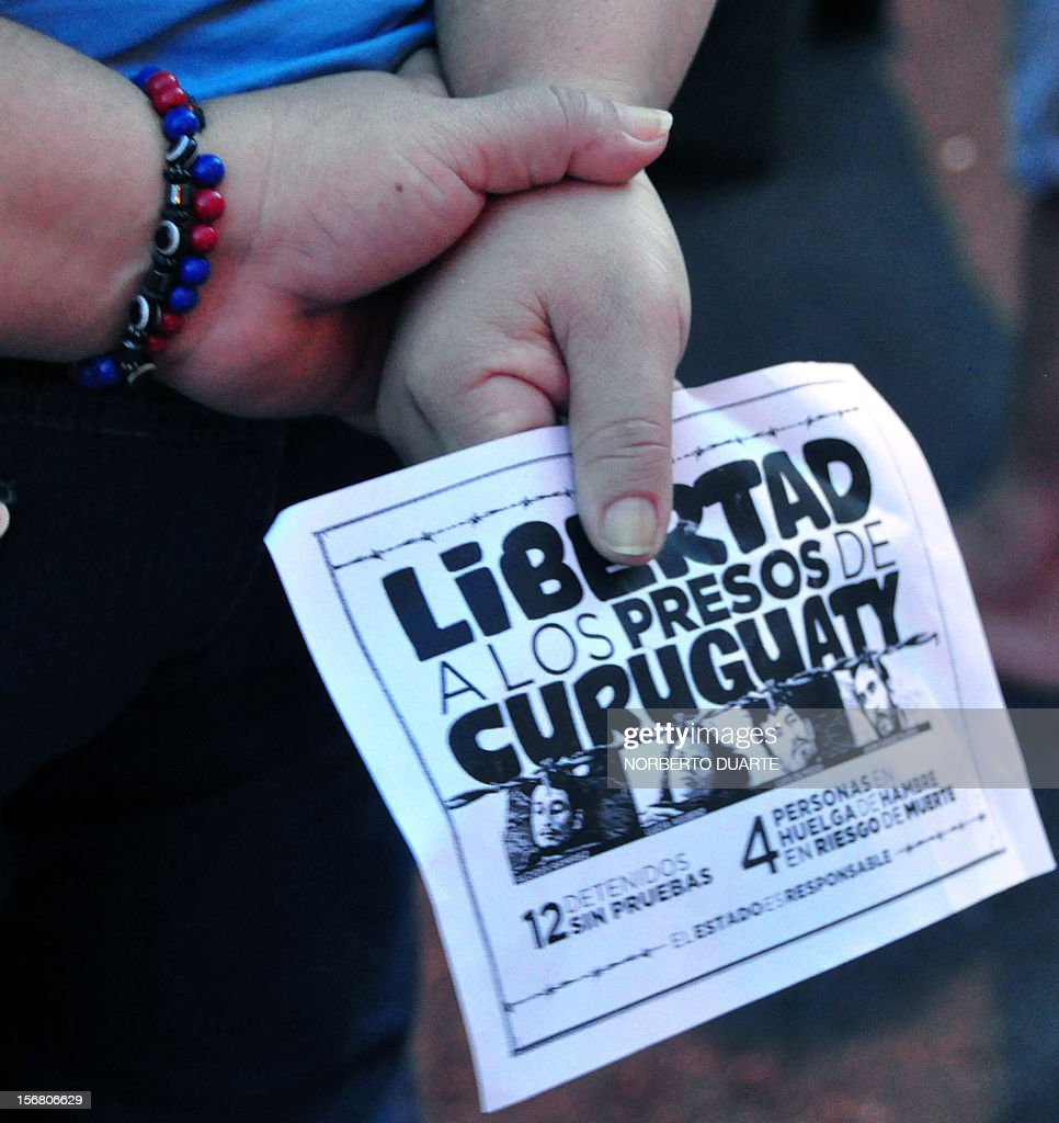 A woman holds a leaflet during a vigil of supporters of ousted Paraguayan President Fernando Lugo and relatives of jailed peasants on November 21, 2012 in Asuncion, in demand of their freedom. Four peasants accused -alongside other eight people- of the death of six policemen past June 15 in Curuguaty, 250 km northeast of Asuncion, remain on hunger strike. 11 peasants died in the confrontation with the police during the eviction of a private property. AFP PHOTO/ Norberto Duarte
