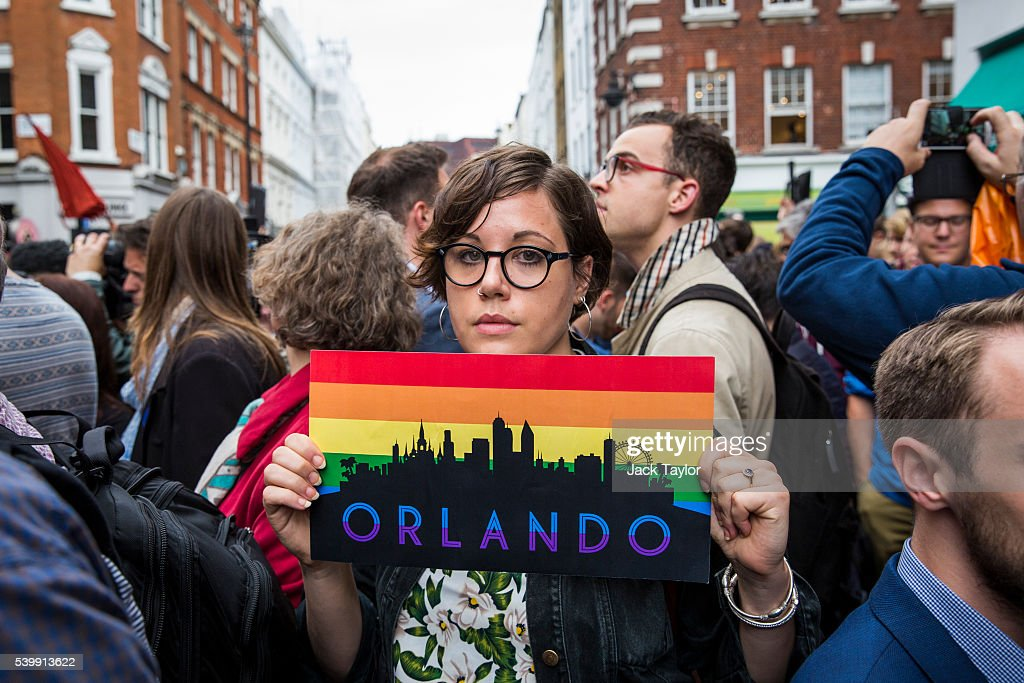 A Vigil Is Held In Soho For The Victims Of The Orlando Gay Club Shootings : News Photo