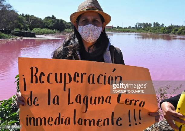 """Woman holds a placard reading """"Recovery of Cerro Lake Immediately"""" as she takes part in a protest on the shore of the Cerro Lake, formed from a..."""