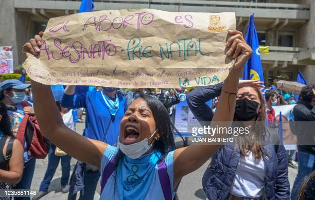"""Woman holds a poster that reads """"Abortion is prenatal murder"""" during a demonstration against the abortion law in front of the Supreme Court of..."""