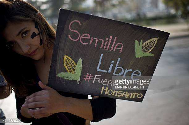 A woman holds a sign during a march against US agrochemical giant Monsanto on May 23 in Santiago Chile Annual marches against the Monsanto Company...