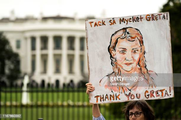 A woman holds a sign with the image of Greta Thunberg during a strike to demand action be taken on climate change outside the White House on...