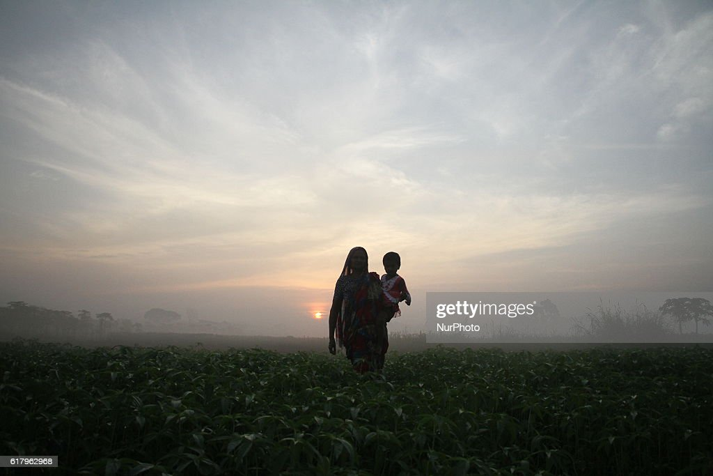 A woman holds her grand daughter walks in the vegetable field during the sun rise outside of Dhaka, Bangladesh on October 25, 2016. Vegetable production is contributing to the nutrition strategy of Bangladesh. Average agriculture sector GDP annual growth reached 3.5 per cent.