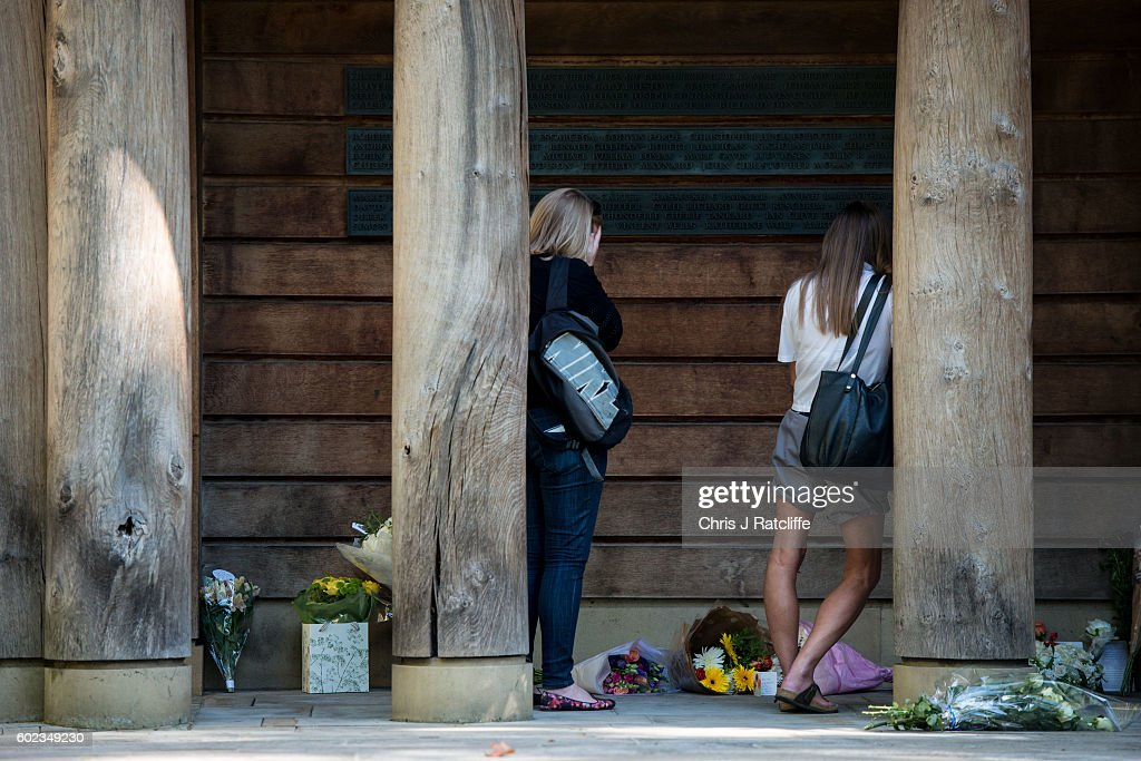Tributes Are Left At The 9/11 Memorial On The 15th Anniversary : News Photo