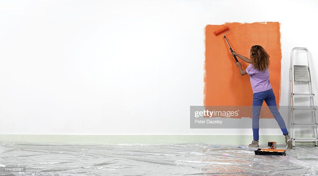 Woman home decoration : Stock Photo