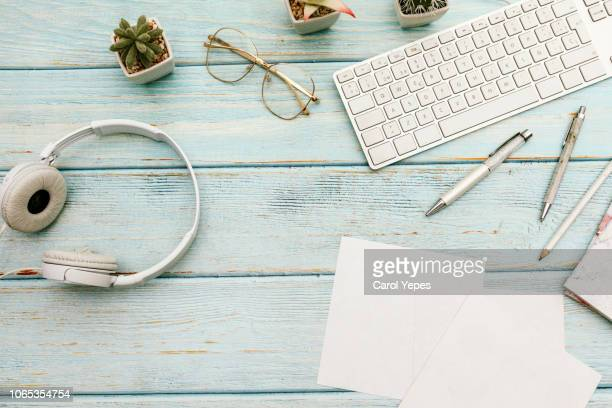 woman home office desk workspace with laptop, headphones  cactus in pastel blue wooden. flat lay, top view. stylish female concept - top foto e immagini stock