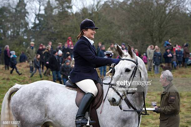 woman horsecrider gathering for a boxing day hunt - fox hunting stock pictures, royalty-free photos & images