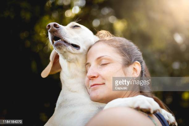 woman hugging her dog - embracing stock pictures, royalty-free photos & images