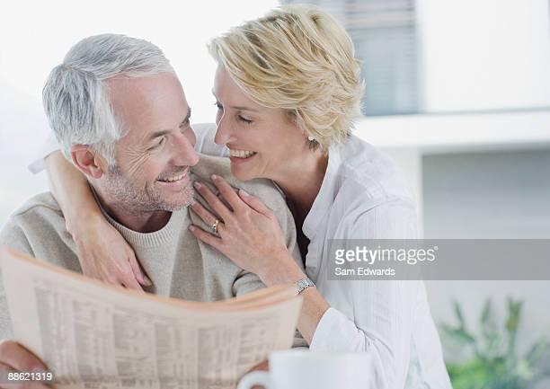 Woman hugging husband