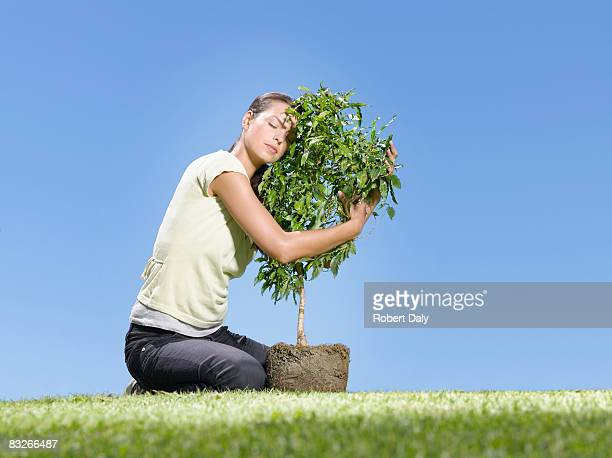 woman hugging small tree - tree hugging stock pictures, royalty-free photos & images