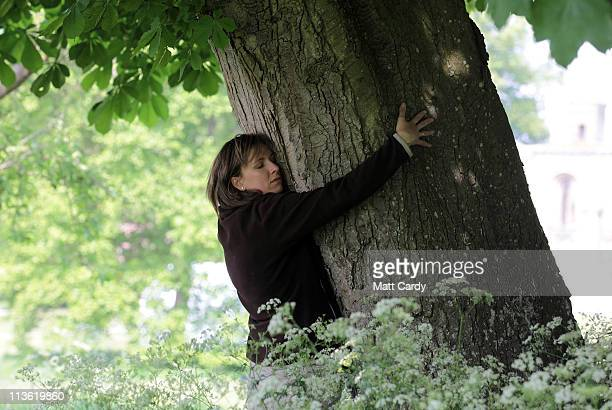 A woman hugs a tree in the grounds of Glastonbury Abbey as she enjoys the apple blossom and other flowering trees on May 4 2011 in Glastonbury...