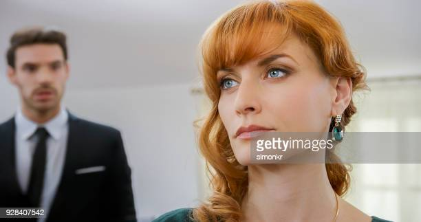 woman ignoring the man's apologies and explanations - grey eyes stock pictures, royalty-free photos & images