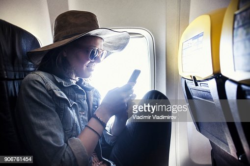 Woman in a airplane