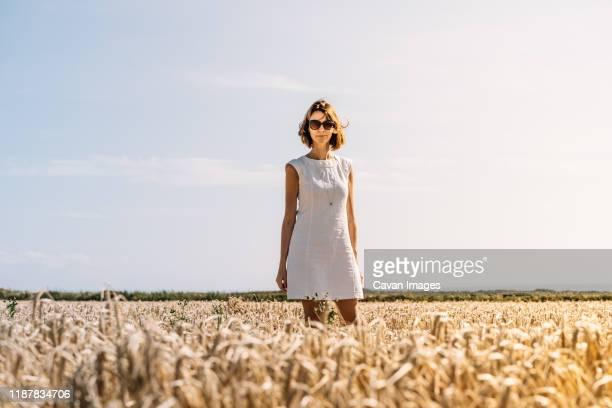 woman in a beautiful white dress standing in the golden grass field - weißes kleid stock-fotos und bilder